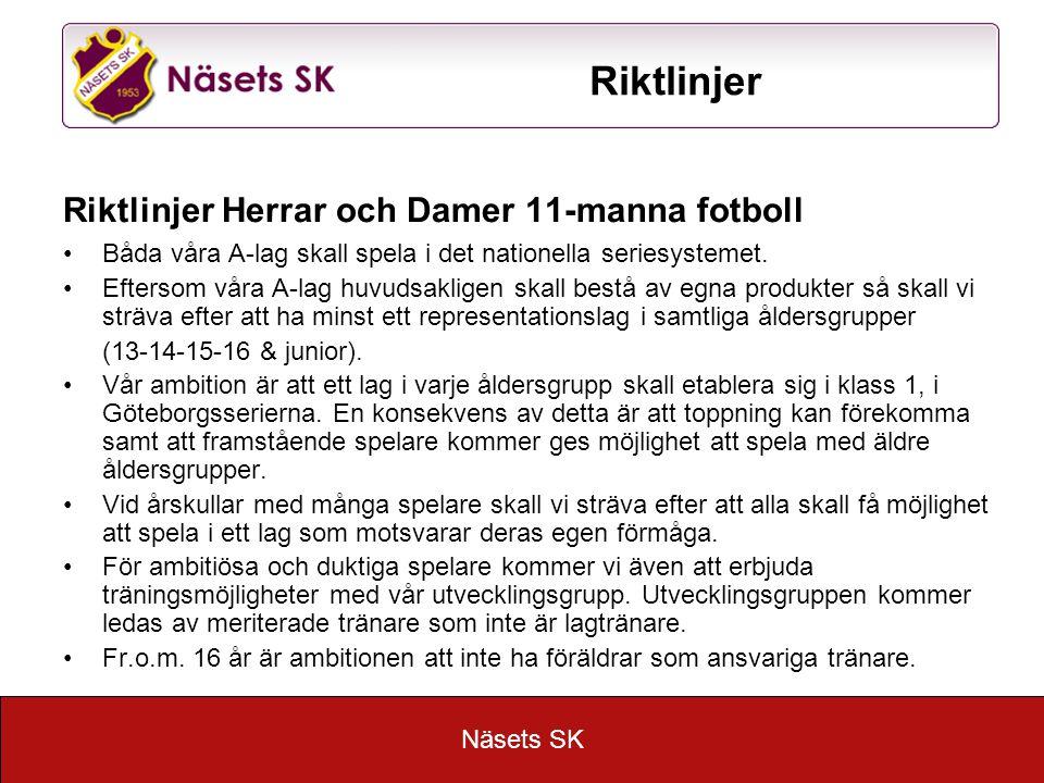 Näsets SK Riktlinjer Riktlinjer Herrar och Damer 11-manna fotboll Båda våra A-lag skall spela i det nationella seriesystemet.