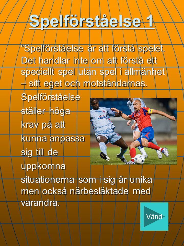 Spelförståelse 1 Spelförståelse är att förstå spelet.