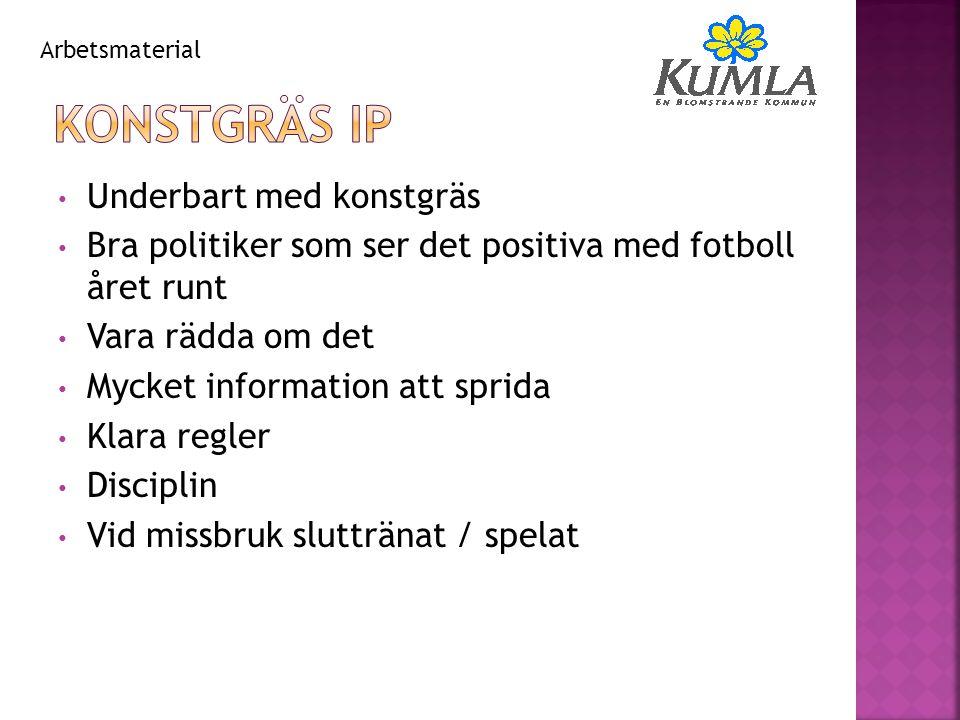 Underbart med konstgräs Bra politiker som ser det positiva med fotboll året runt Vara rädda om det Mycket information att sprida Klara regler Discipli