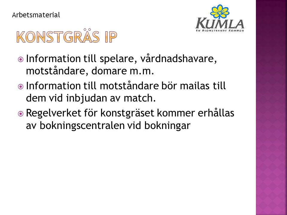  Information till spelare, vårdnadshavare, motståndare, domare m.m.  Information till motståndare bör mailas till dem vid inbjudan av match.  Regel