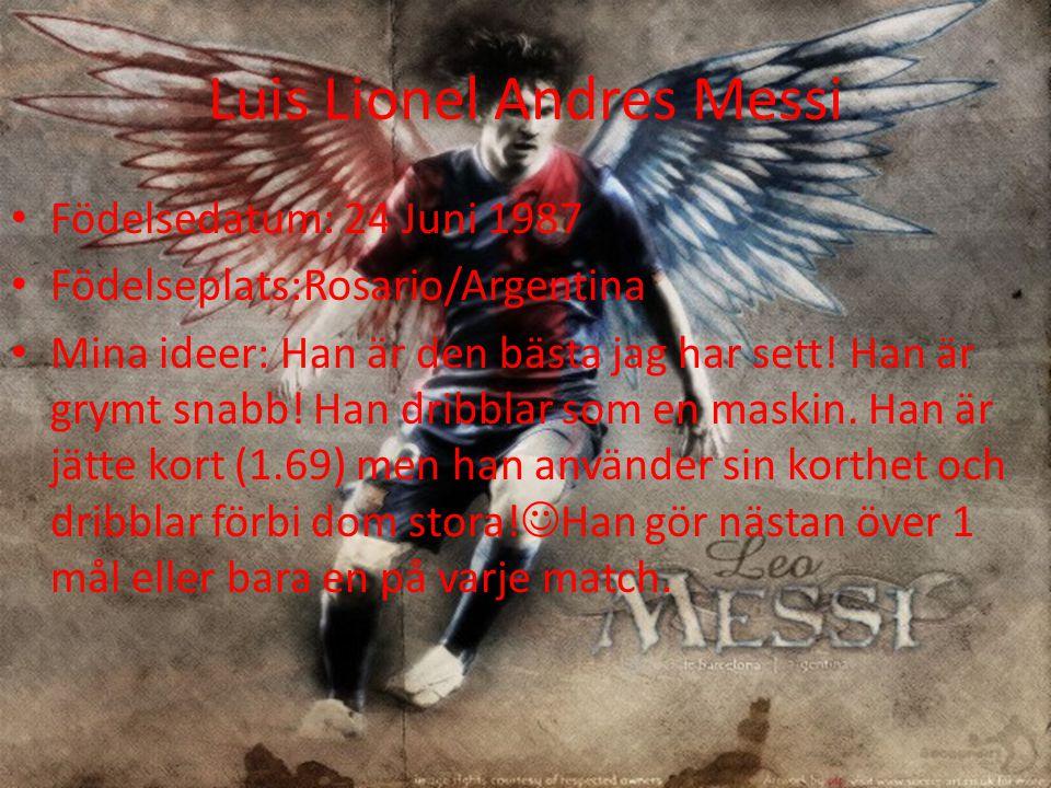 Luis Lionel Andres Messi Födelsedatum: 24 Juni 1987 Födelseplats:Rosario/Argentina Mina ideer: Han är den bästa jag har sett.