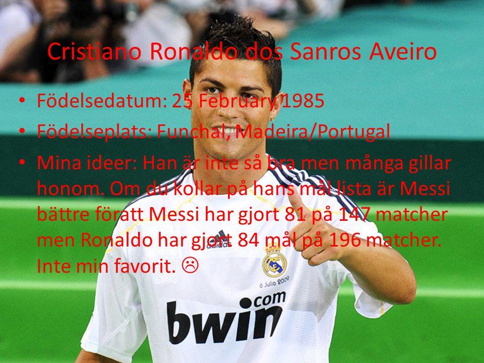 Cristiano Ronaldo dos Sanros Aveiro Födelsedatum: 25 February 1985 Födelseplats: Funchal, Madeira/Portugal Mina ideer: Han är inte så bra men många gillar honom.