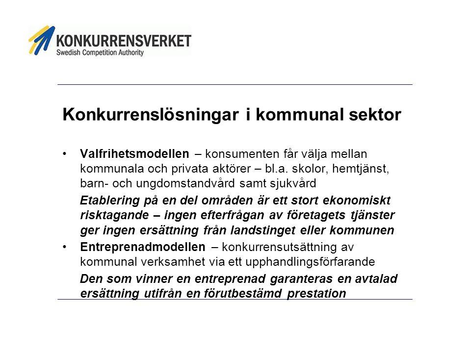 Konkurrenslösningar i kommunal sektor Valfrihetsmodellen – konsumenten får välja mellan kommunala och privata aktörer – bl.a.
