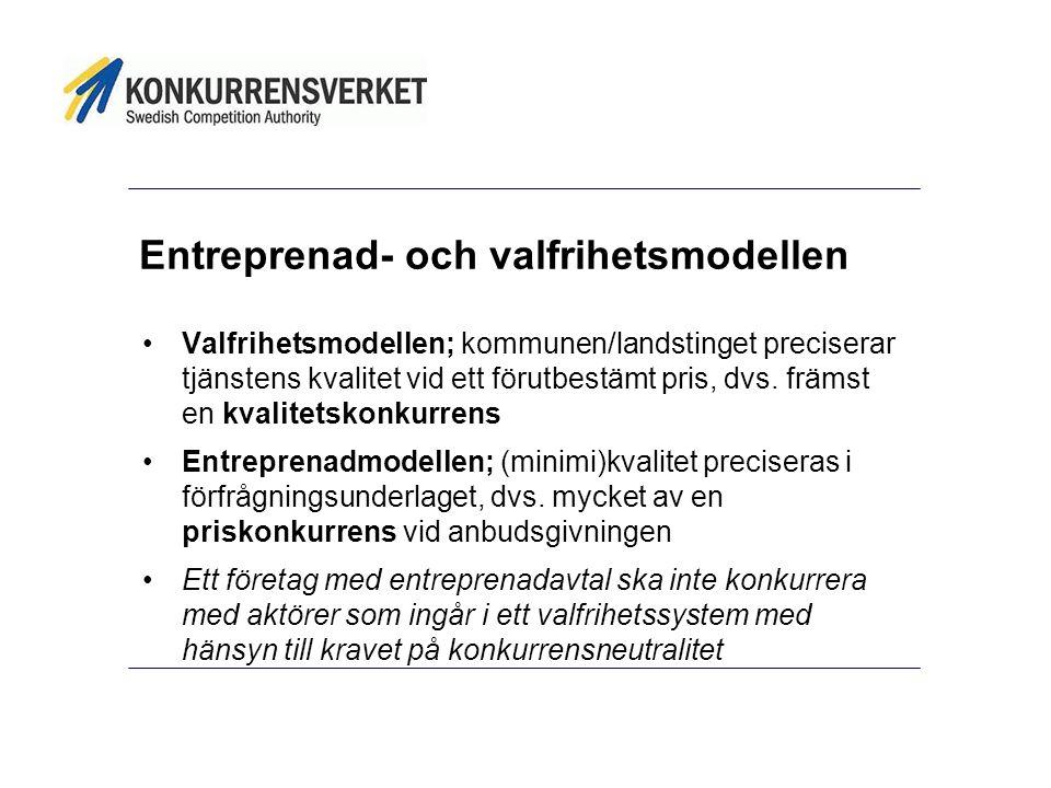 Entreprenad- och valfrihetsmodellen Valfrihetsmodellen; kommunen/landstinget preciserar tjänstens kvalitet vid ett förutbestämt pris, dvs.