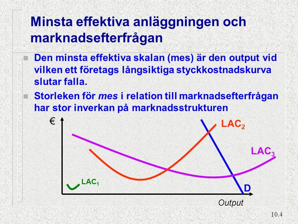 10.15 Spelet 'Fångens Dilemma' Tänk dig två företag på en duopolmarknad där båda kan välja att producera hög eller låg output: