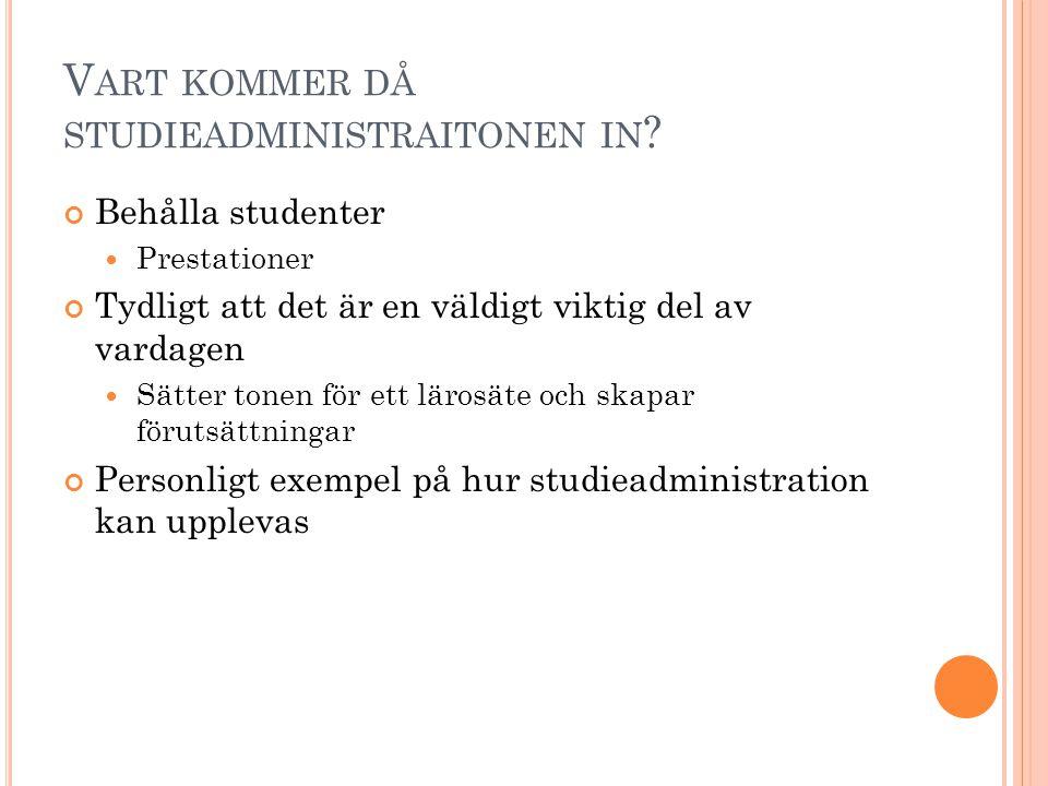 V ART KOMMER DÅ STUDIEADMINISTRAITONEN IN .