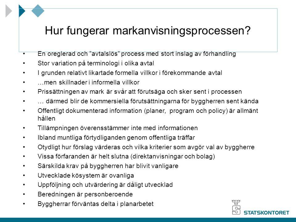 """Hur fungerar markanvisningsprocessen? En oreglerad och """"avtalslös"""" process med stort inslag av förhandling Stor variation på terminologi i olika avtal"""