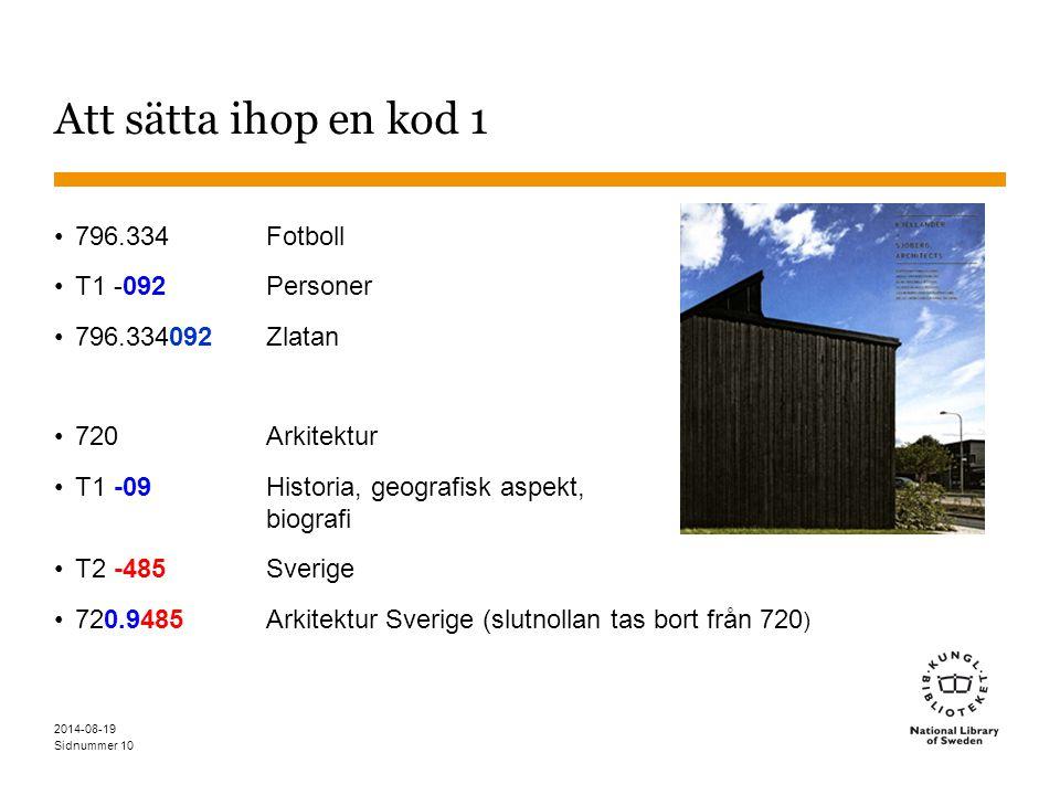 Sidnummer Att sätta ihop en kod 1 796.334 Fotboll T1 -092Personer 796.334092 Zlatan 720Arkitektur T1 -09Historia, geografisk aspekt, biografi T2 -485S