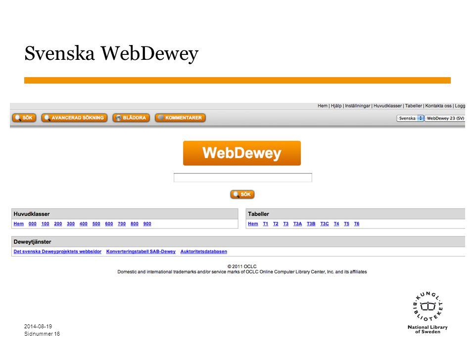 Sidnummer Svenska WebDewey 2014-08-19 16