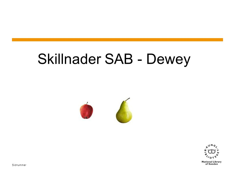Sidnummer Skillnader SAB - Dewey