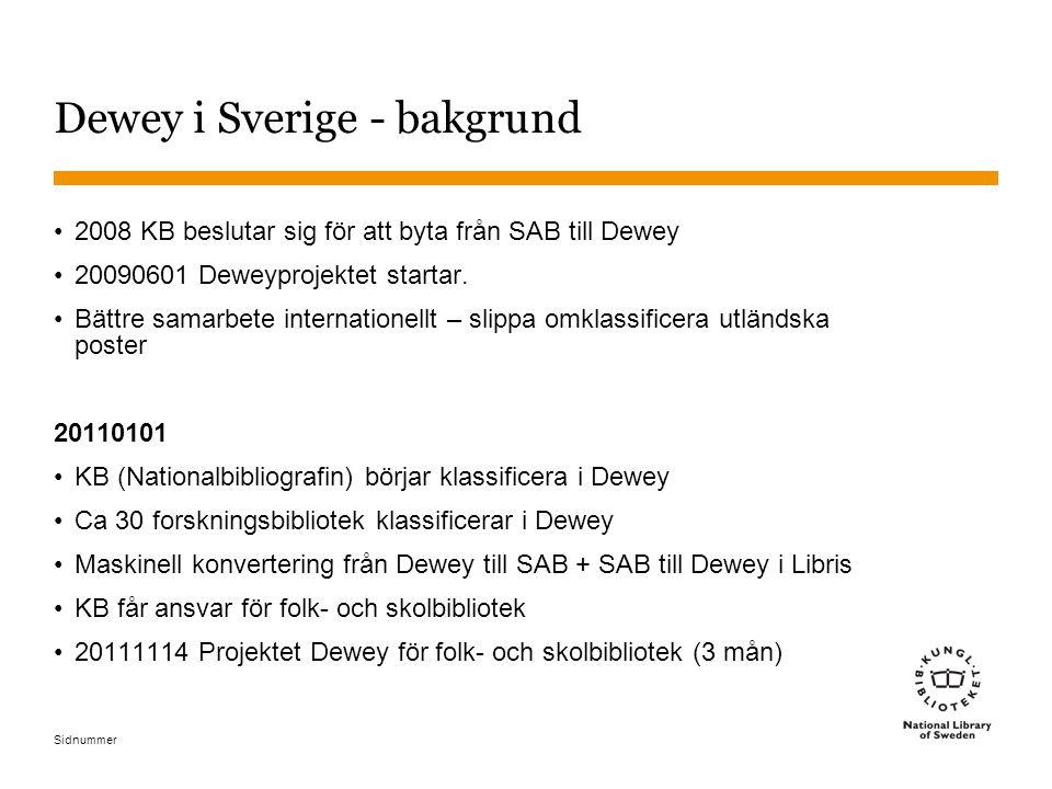 Sidnummer Dewey i Sverige - bakgrund 2008 KB beslutar sig för att byta från SAB till Dewey 20090601 Deweyprojektet startar. Bättre samarbete internati