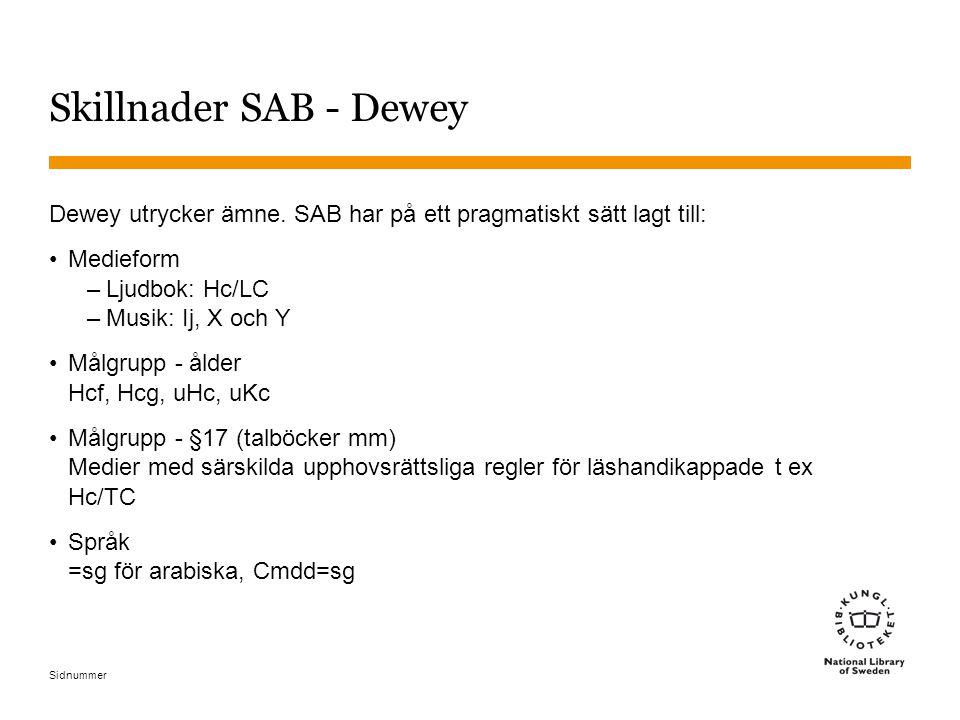 Sidnummer Skillnader SAB - Dewey Dewey utrycker ämne. SAB har på ett pragmatiskt sätt lagt till: Medieform –Ljudbok: Hc/LC –Musik: Ij, X och Y Målgrup
