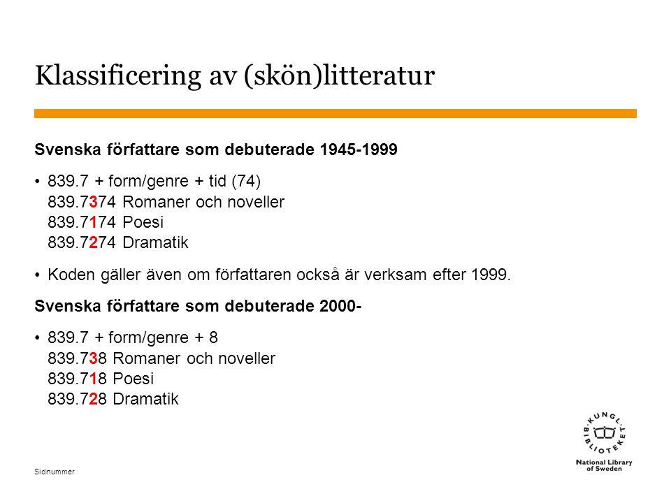 Sidnummer Klassificering av (skön)litteratur Svenska författare som debuterade 1945-1999 839.7 + form/genre + tid (74) 839.7374 Romaner och noveller 8