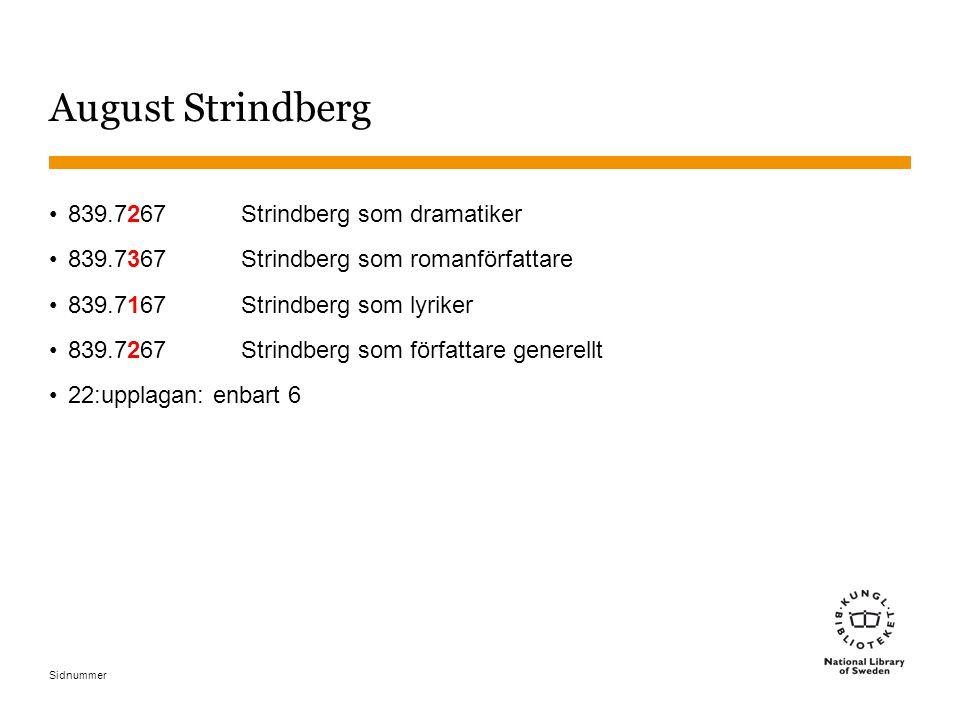 Sidnummer August Strindberg 839.7267Strindberg som dramatiker 839.7367Strindberg som romanförfattare 839.7167Strindberg som lyriker 839.7267Strindberg