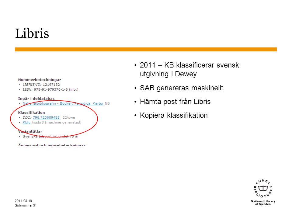 Sidnummer Libris 2011 – KB klassificerar svensk utgivning i Dewey SAB genereras maskinellt Hämta post från Libris Kopiera klassifikation 2014-08-19 31
