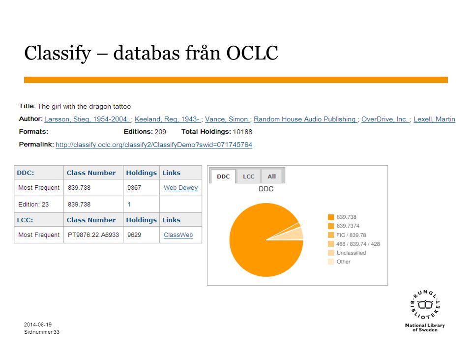 Sidnummer Classify – databas från OCLC 2014-08-19 33