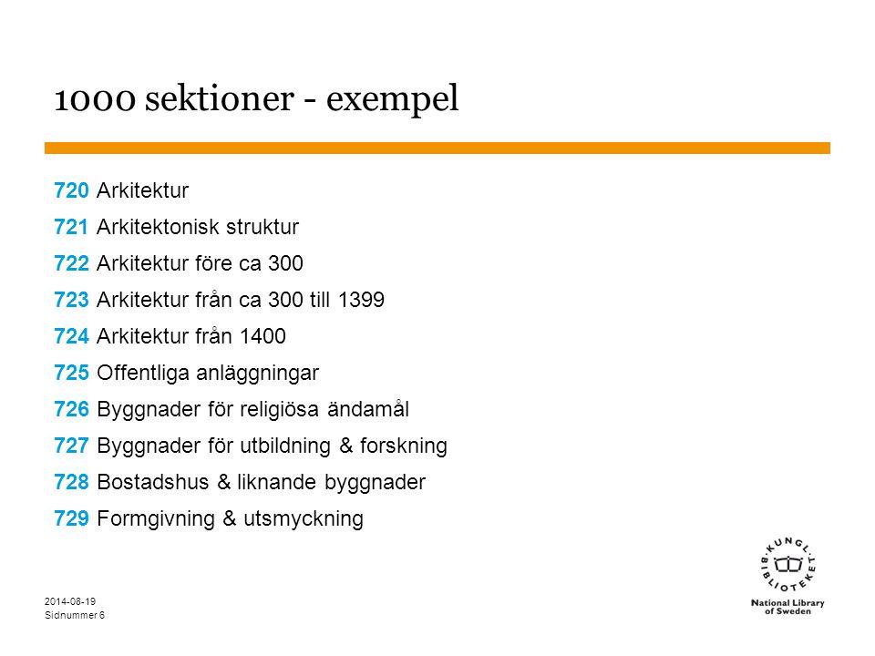 Sidnummer 2014-08-19 6 1000 sektioner - exempel 720 Arkitektur 721 Arkitektonisk struktur 722 Arkitektur före ca 300 723 Arkitektur från ca 300 till 1