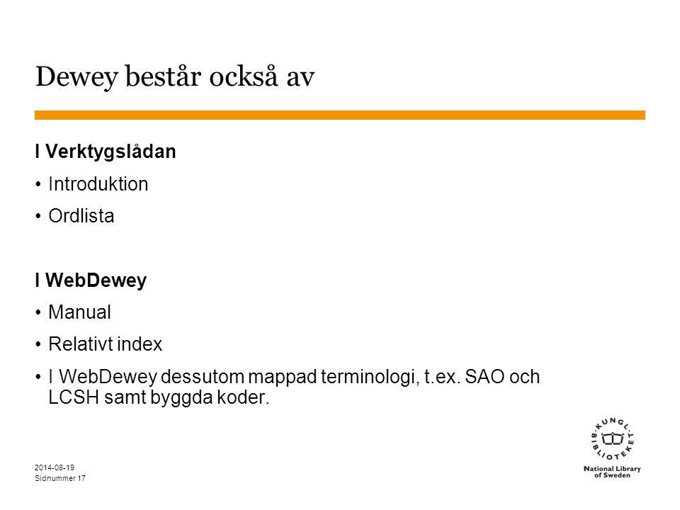 Sidnummer 2014-08-19 17 Dewey består också av I Verktygslådan Introduktion Ordlista I WebDewey Manual Relativt index I WebDewey dessutom mappad terminologi, t.ex.