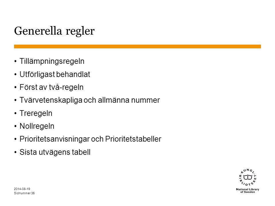 Sidnummer 2014-08-19 35 Generella regler Tillämpningsregeln Utförligast behandlat Först av två-regeln Tvärvetenskapliga och allmänna nummer Treregeln Nollregeln Prioritetsanvisningar och Prioritetstabeller Sista utvägens tabell