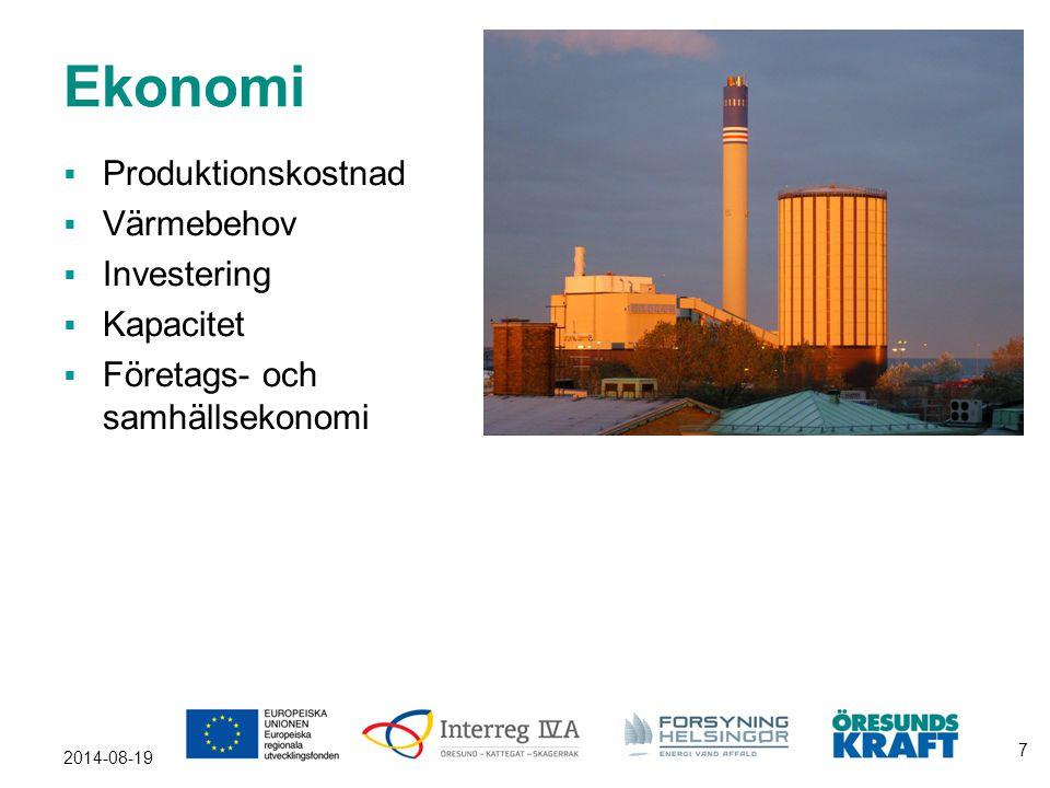 Ekonomi  Produktionskostnad  Värmebehov  Investering  Kapacitet  Företags- och samhällsekonomi 2014-08-19 7
