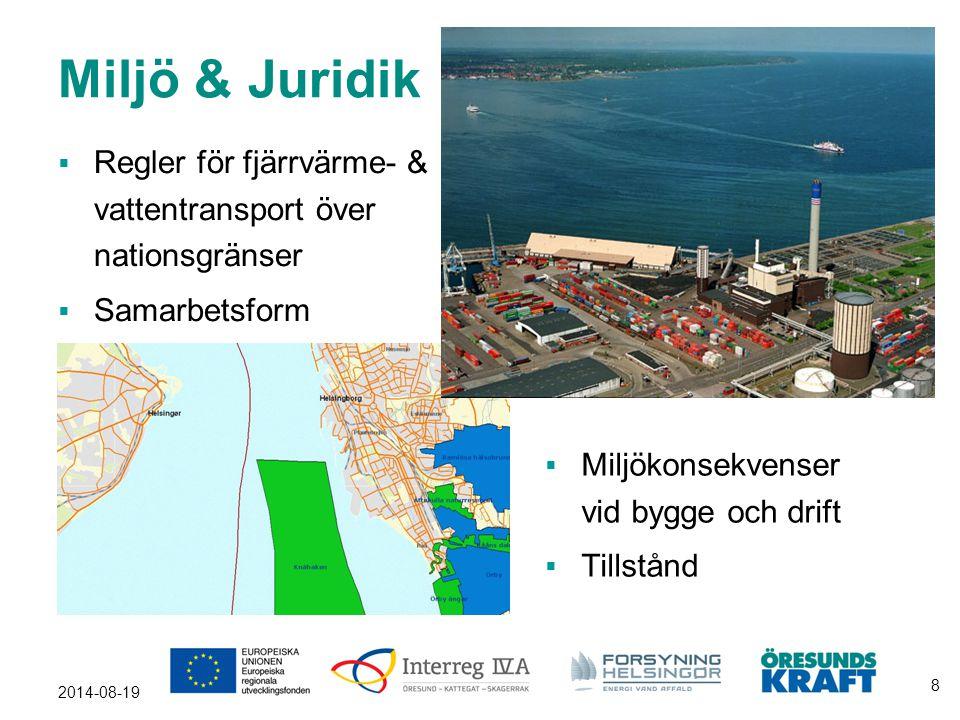 Miljö & Juridik  Regler för fjärrvärme- & vattentransport över nationsgränser  Samarbetsform 2014-08-19 8  Miljökonsekvenser vid bygge och drift 