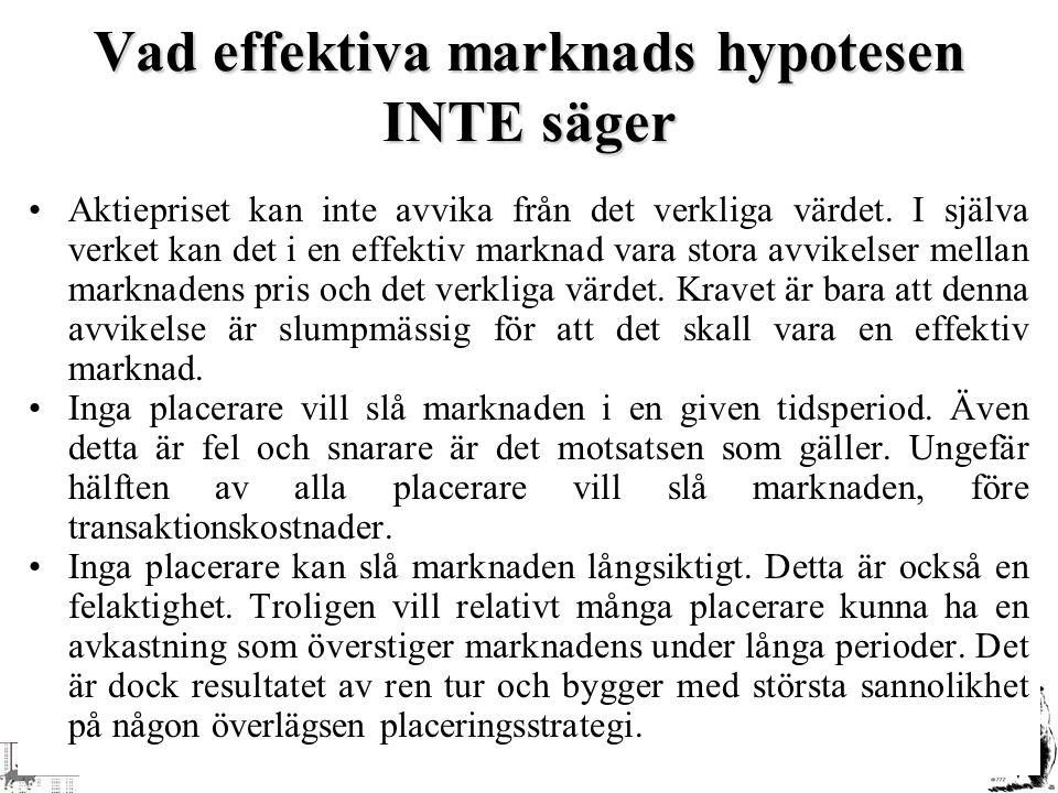 Vad effektiva marknads hypotesen INTE säger Aktiepriset kan inte avvika från det verkliga värdet. I själva verket kan det i en effektiv marknad vara s