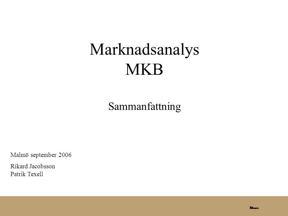 Marknadsanalys MKB Sammanfattning Malmö september 2006 Rikard Jacobsson Patrik Texell
