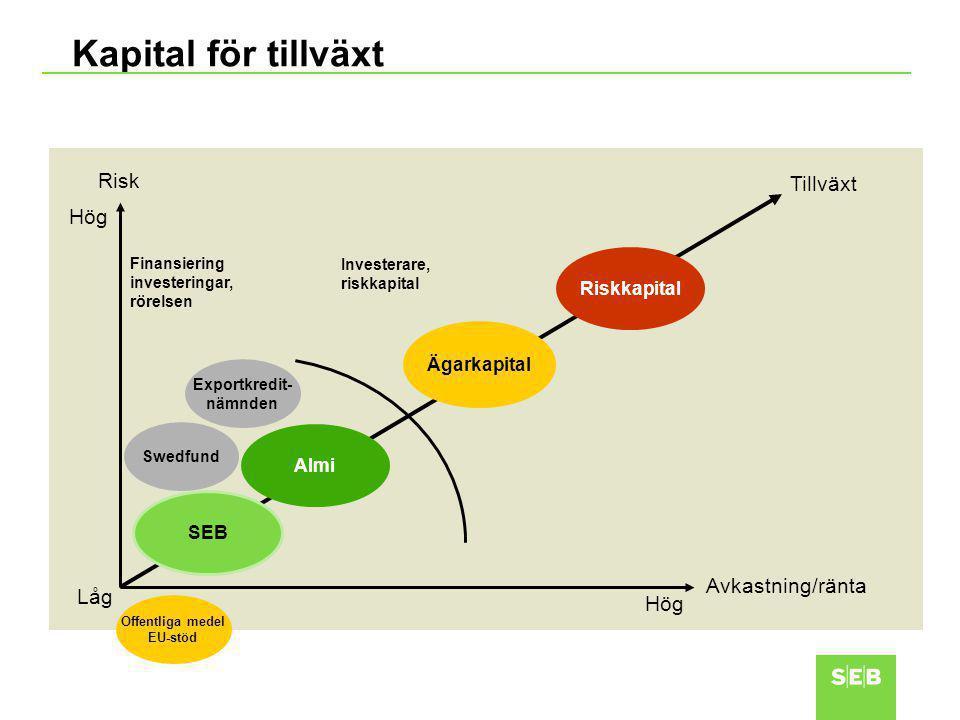 Kapital för tillväxt Avkastning/ränta Risk SEB Tillväxt Finansiering investeringar, rörelsen Investerare, riskkapital Almi Ägarkapital Riskkapital Hög Låg Swedfund Exportkredit- nämnden Offentliga medel EU-stöd