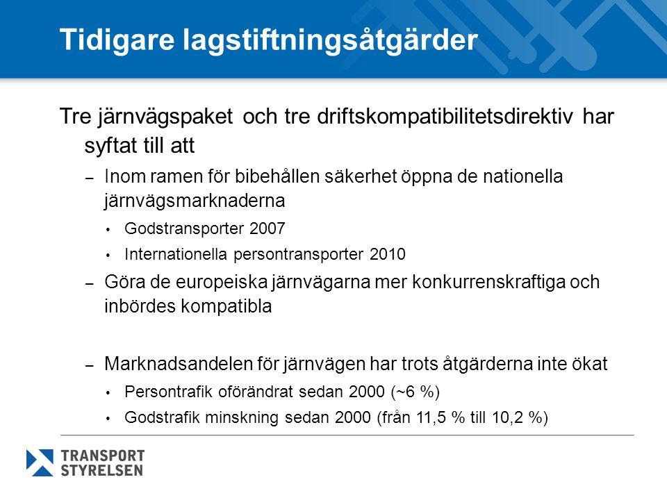 2011 års Vitbok Färdplan för ett gemensamt europeiskt transportområde – ett konkurrenskraftigt och resurseffektivt transportsystem – Visionen är att skapa ett gemensamt europeiskt järnvägsområde De tekniska, administrativa och rättsliga hinder som begränsar tillträdet till de nationella järnvägsmarknaderna bör avlägsnas 2050 bör större delen av medellånga persontransporter ske på järnväg, vilket kommer att bidra till att uppfylla målet om 20% minskade utsläpp av växthusgaser