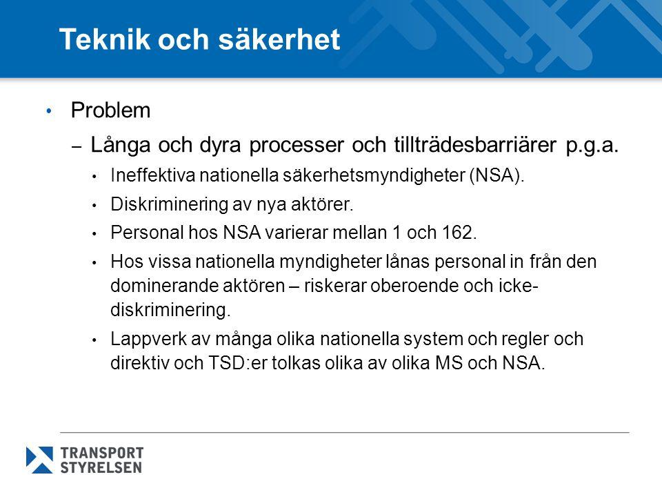 Teknik och säkerhet Problem – Långa och dyra processer och tillträdesbarriärer p.g.a. Ineffektiva nationella säkerhetsmyndigheter (NSA). Diskriminerin