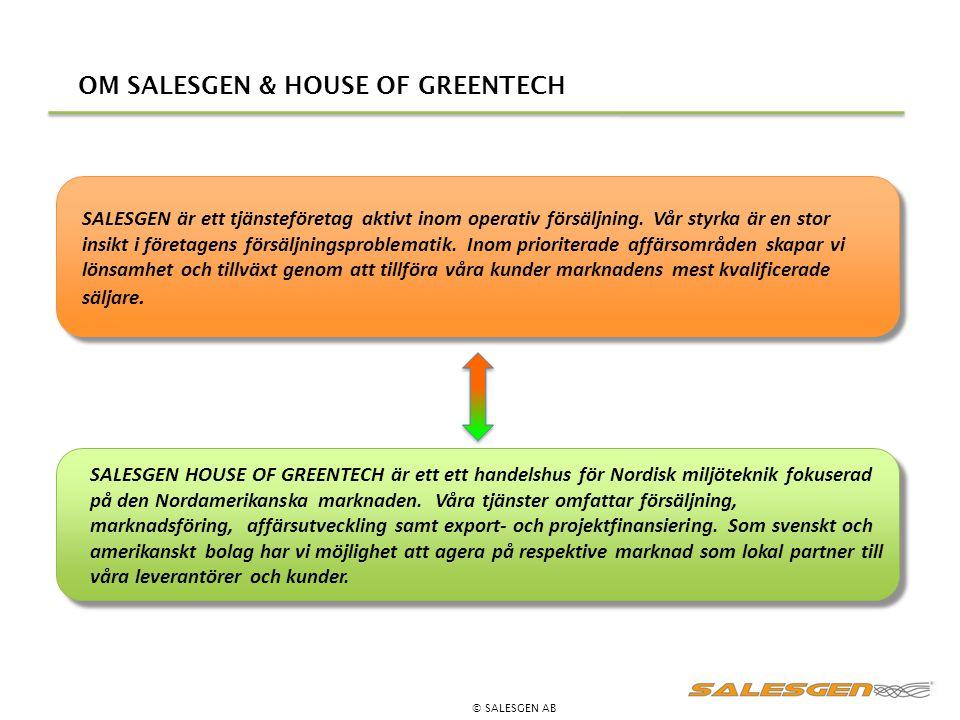 OM SALESGEN & HOUSE OF GREENTECH © SALESGEN AB SALESGEN är ett tjänsteföretag aktivt inom operativ försäljning. Vår styrka är en stor insikt i företag