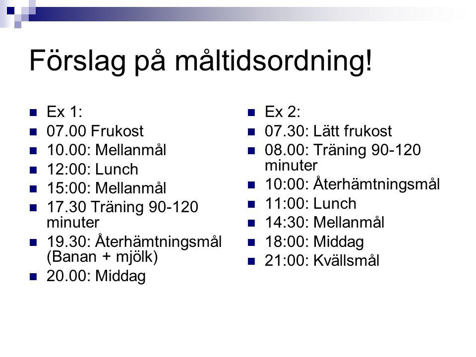 Förslag på måltidsordning! Ex 1: 07.00 Frukost 10.00: Mellanmål 12:00: Lunch 15:00: Mellanmål 17.30 Träning 90-120 minuter 19.30: Återhämtningsmål (Ba