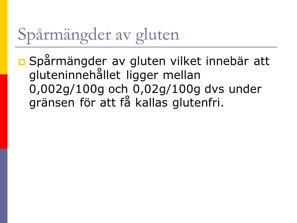 Spårmängder av gluten  Spårmängder av gluten vilket innebär att gluteninnehållet ligger mellan 0,002g/100g och 0,02g/100g dvs under gränsen för att f