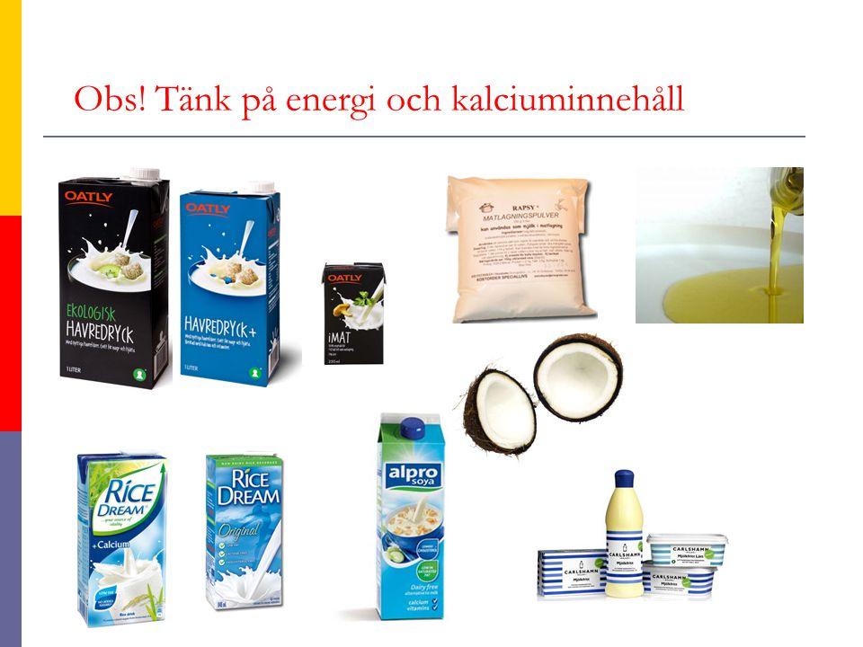 Obs! Tänk på energi och kalciuminnehåll