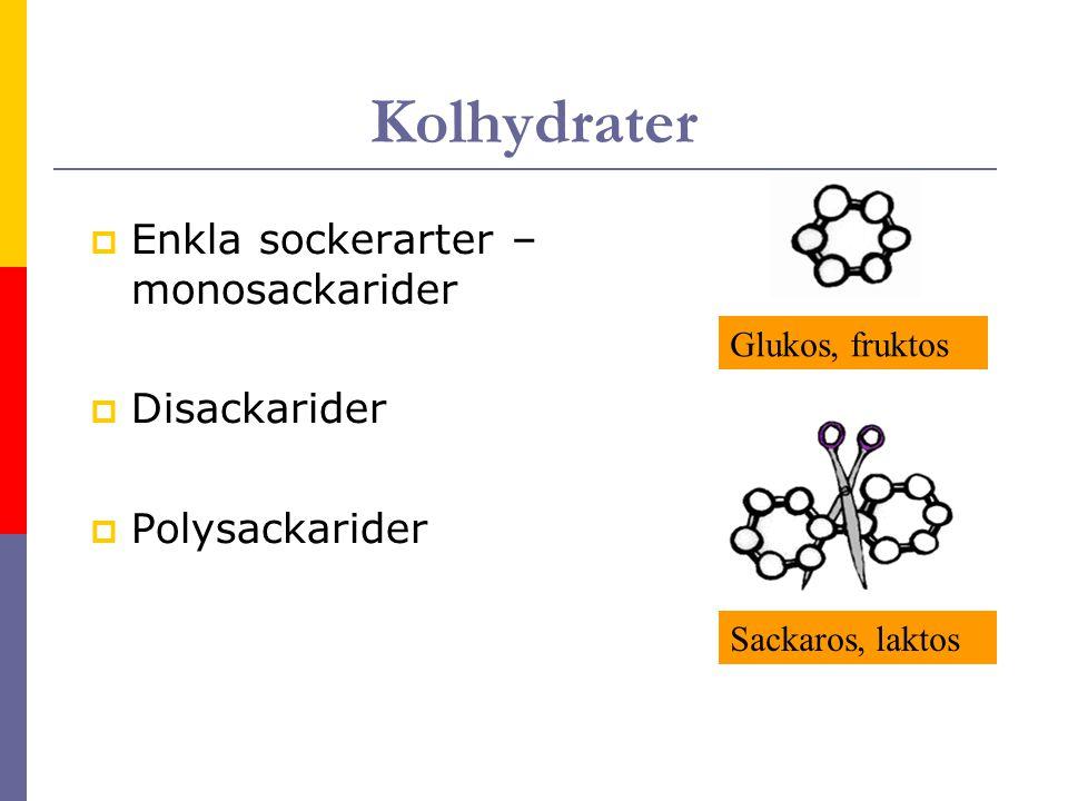Kolhydrater  Enkla sockerarter – monosackarider  Disackarider  Polysackarider Glukos, fruktos Sackaros, laktos