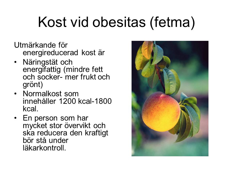 Kost vid obesitas (fetma) Utmärkande för energireducerad kost är Näringstät och energifattig (mindre fett och socker- mer frukt och grönt) Normalkost som innehåller 1200 kcal-1800 kcal.