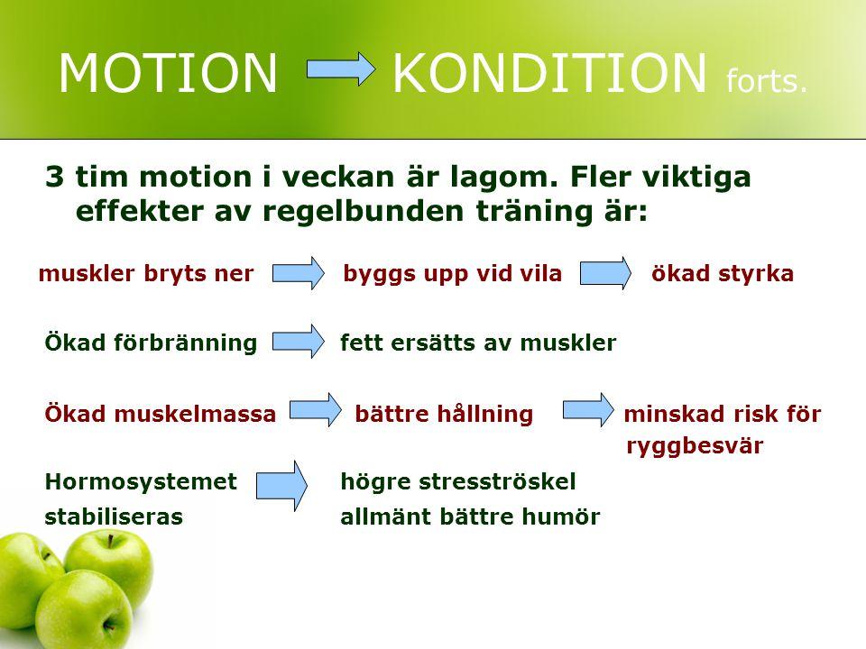 MOTION KONDITION forts. 3 tim motion i veckan är lagom. Fler viktiga effekter av regelbunden träning är: Ökad förbränning fett ersätts av muskler Ökad