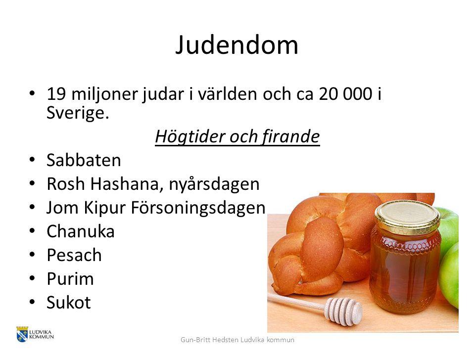 Judendom 19 miljoner judar i världen och ca 20 000 i Sverige. Högtider och firande Sabbaten Rosh Hashana, nyårsdagen Jom Kipur Försoningsdagen Chanuka