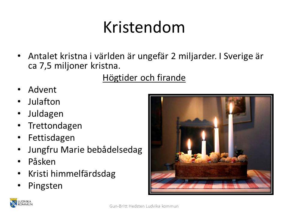 Kristendom Antalet kristna i världen är ungefär 2 miljarder. I Sverige är ca 7,5 miljoner kristna. Högtider och firande Advent Julafton Juldagen Trett