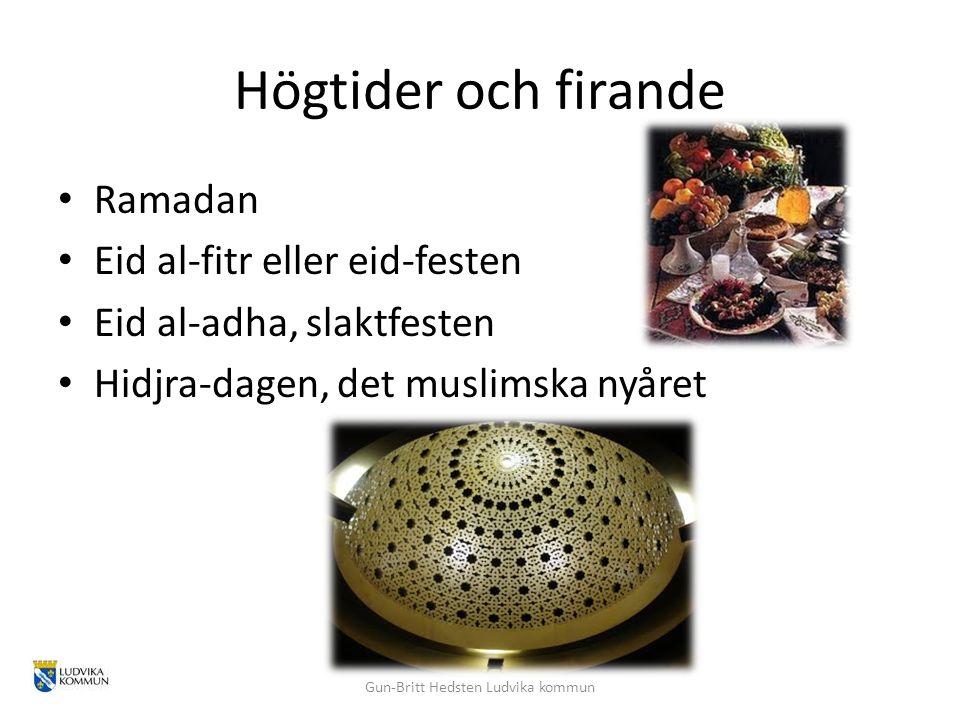 Högtider och firande Ramadan Eid al-fitr eller eid-festen Eid al-adha, slaktfesten Hidjra-dagen, det muslimska nyåret Gun-Britt Hedsten Ludvika kommun