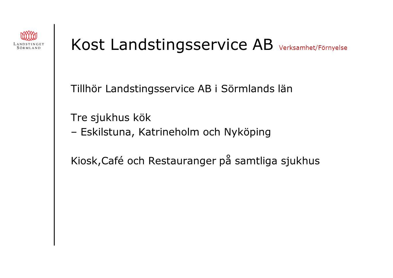 Kost Landstingsservice AB Verksamhet/Förnyelse Tillhör Landstingsservice AB i Sörmlands län Tre sjukhus kök – Eskilstuna, Katrineholm och Nyköping Kiosk,Café och Restauranger på samtliga sjukhus