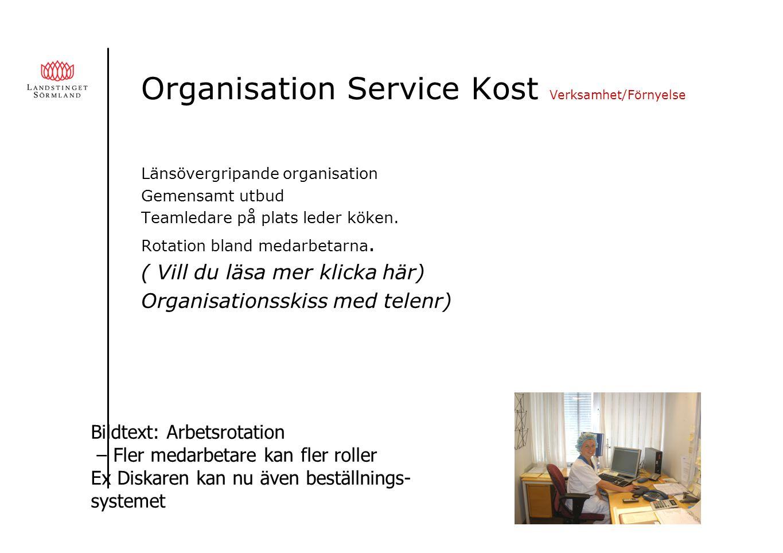 Organisation Service Kost Verksamhet/Förnyelse Länsövergripande organisation Gemensamt utbud Teamledare på plats leder köken.