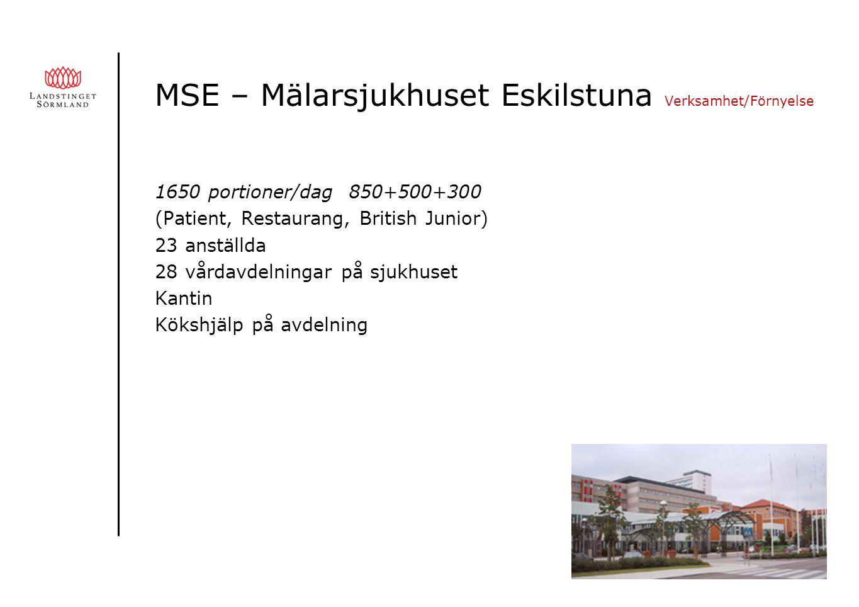 MSE – Mälarsjukhuset Eskilstuna Verksamhet/Förnyelse 1650 portioner/dag 850+500+300 (Patient, Restaurang, British Junior) 23 anställda 28 vårdavdelningar på sjukhuset Kantin Kökshjälp på avdelning