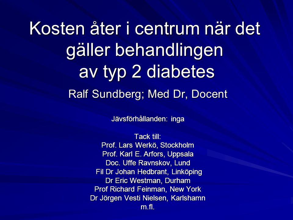 Kosten åter i centrum när det gäller behandlingen av typ 2 diabetes Ralf Sundberg; Med Dr, Docent Jävsförhållanden: inga Tack till: Prof. Lars Werkö,