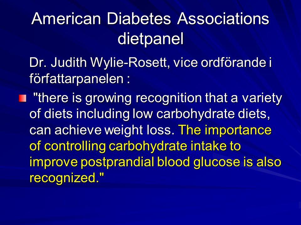 American Diabetes Associations dietpanel Dr. Judith Wylie-Rosett, vice ordförande i författarpanelen : Dr. Judith Wylie-Rosett, vice ordförande i förf