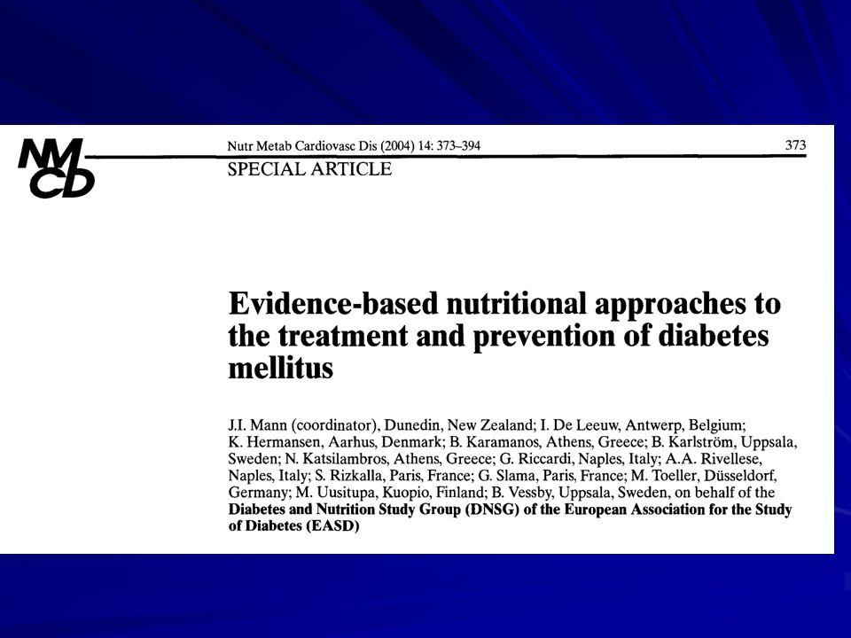 Nyupptäckta randomiserades, 40 el 55 E% kh, 1500 kcal, smör ersattes av Flora margarin Antalet randomiserade redovisades ej Pat med försämrad glykemisk kontroll exkluderades, antalet oredovisat Efter ett år hade pat i det selekterade materialet lika bra glykemisk kontroll, 54 i LC, 39 i HC.