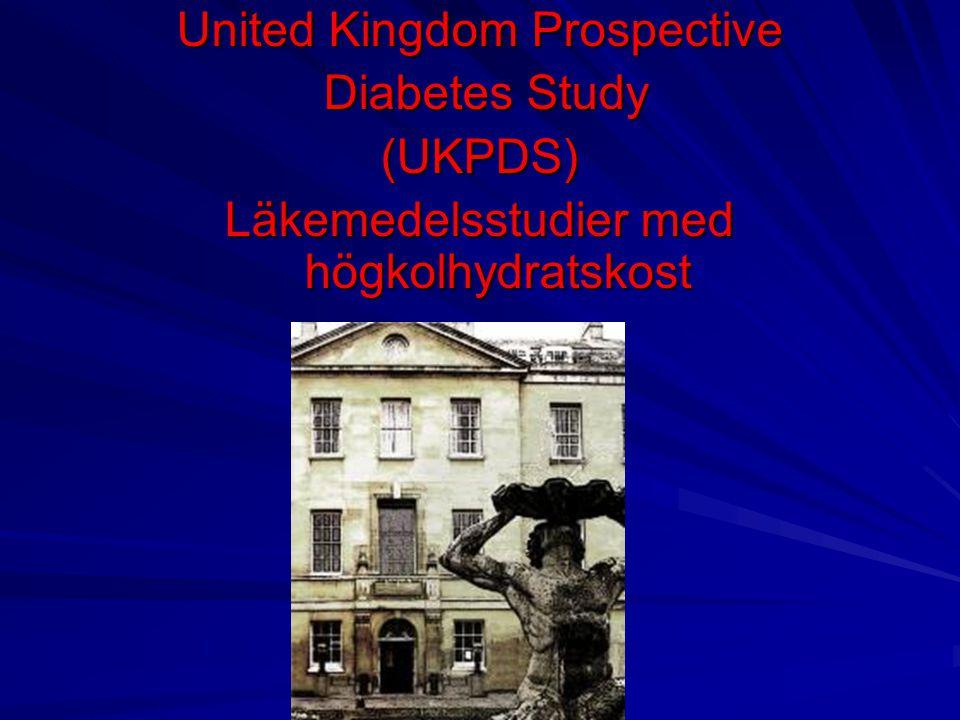 UKPDS HbA1c korrelerar bäst med långtidskomplikationer Övervikt kommer tvåa Blodsockersänkande tabletter höjer vikten Högre vikt ökar insulinresistensen Circulus vitiosus
