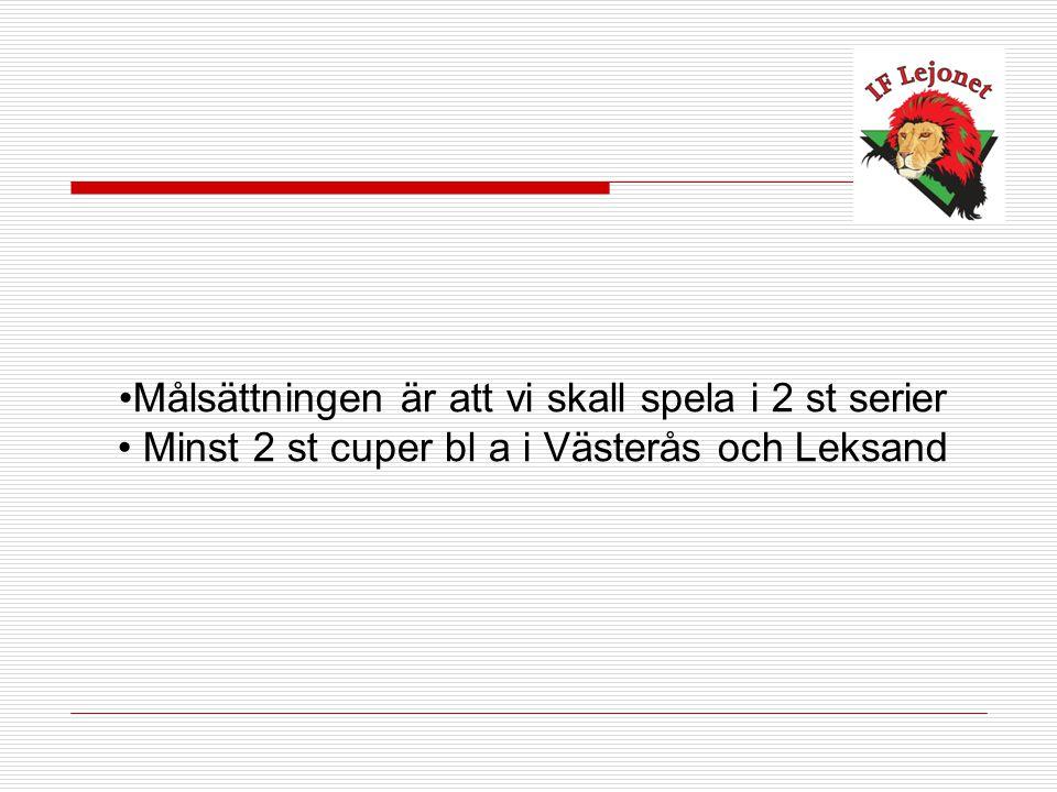 Målsättningen är att vi skall spela i 2 st serier Minst 2 st cuper bl a i Västerås och Leksand