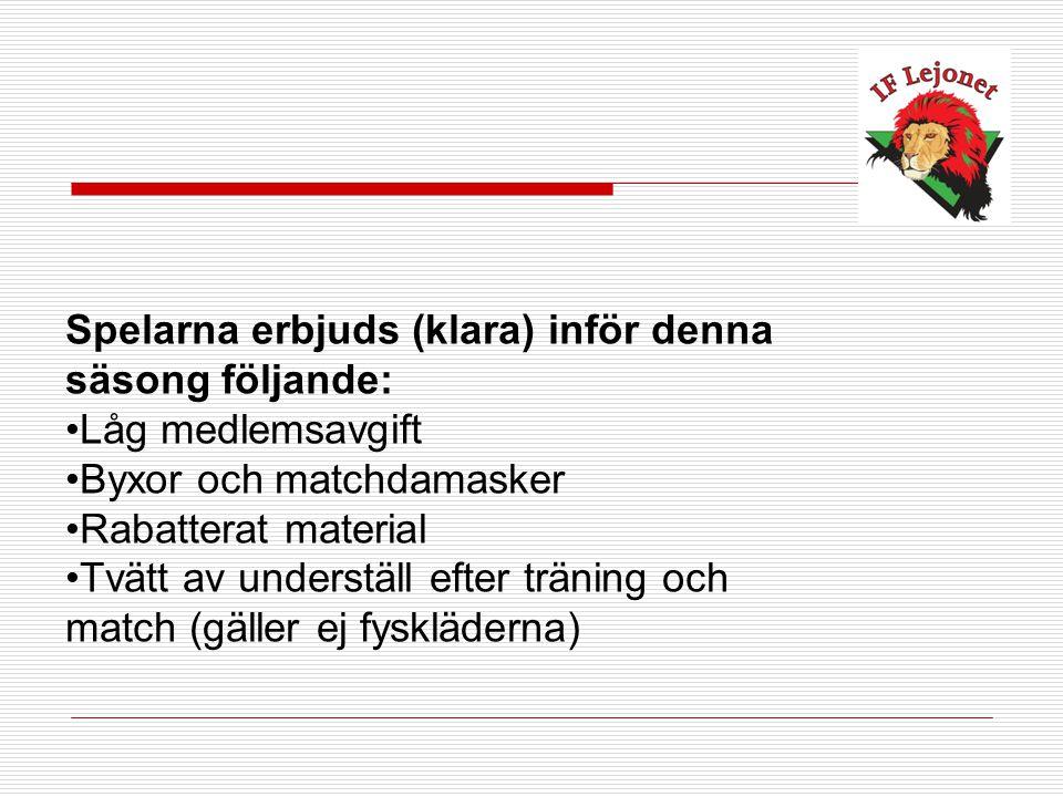 Spelarna erbjuds (klara) inför denna säsong följande: Låg medlemsavgift Byxor och matchdamasker Rabatterat material Tvätt av underställ efter träning och match (gäller ej fyskläderna)
