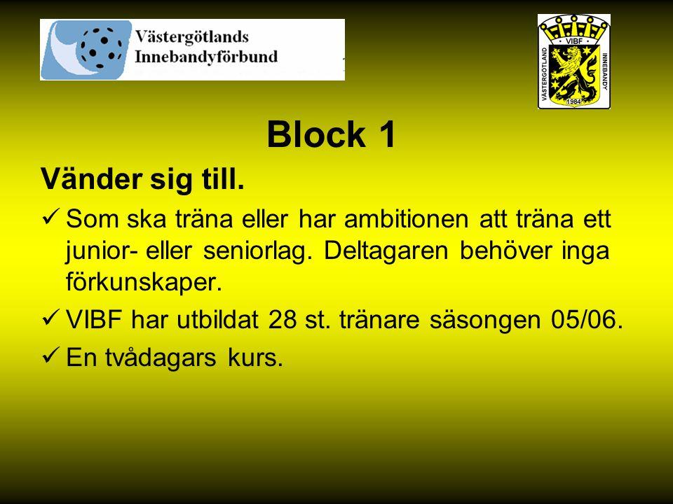 Block 1 Vänder sig till. Som ska träna eller har ambitionen att träna ett junior- eller seniorlag. Deltagaren behöver inga förkunskaper. VIBF har utbi